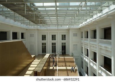 Singapore - July 7,2017 : The courtyard inside the National Art Gallery of Singapore in Singapore on July 7,2017.