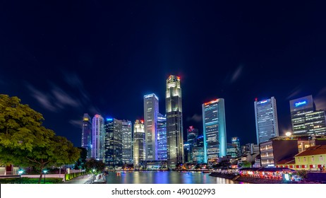 Singapore - July,2015: Skyscrapers at  Singapore Marina bay area. Marina Bay is a bay located in the Central Area of Singapore.
