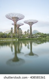 SINGAPORE - JULY,22: Super Tree Grove Gardens by the Bay is the one of attractive Singapore's landmark Where five-minute walk from Bay front MRT Station. SINGAPORE JULY,22 2015