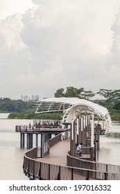 SINGAPORE, SINGAPORE - JUN 01, 2014: Walkway in Lower Seletar Reservoir Park