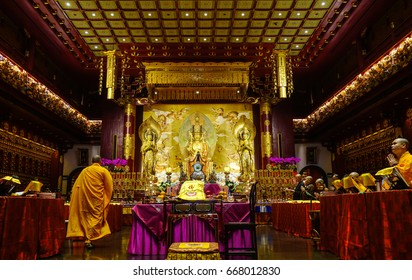Singapore - Jun 12, 2017. Inside of Buddhist pagoda in Chinatown, Singapore. Buddhism first appeared around the Singapore Straits during the 2nd century.