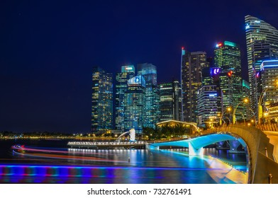 Singapore - Jun 12, 2017. Night view of Marina Bay, Singapore. Singapore is one of the original Four Asian Tigers, but has surpassed its peers in terms of GDP per capita.