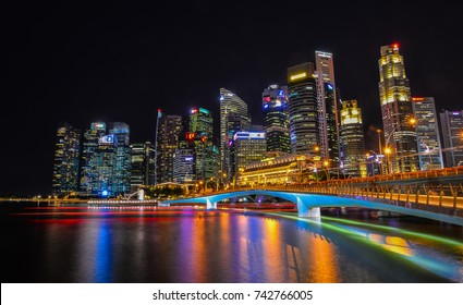 Singapore - Jun 12, 2017. Night view of Marina Bay in Singapore. Singapore is one of the original Four Asian Tigers, but has surpassed its peers in terms of GDP per capita.