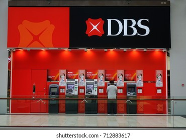 Singapore - Jun 13, 2017. DBS ATM Booth at shopping mall in Singapore. Singapore economy has been ranked as the most open in the world, most pro-business, with low tax rates.