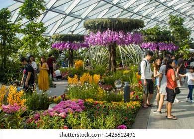 Singapore Jun 16th 2019: The Petal Garden in Canopy park in Jewel Changi Airport. Canopy park is new attraction in Jewel shopping mall and opened in Jun 2019