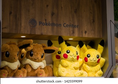 Singapore Jun 16th 2019: The Pokemon stuffed toy Pikachu and eevee in the first Pokemon official shop in Jewel shopping mall in Changi airport