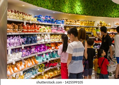 Singapore Jun 16th 2019: The Pokemon stuffed toy in the first Pokemon official shop in Jewel shopping mall in Changi airport