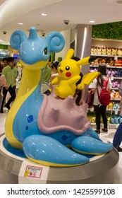 Singapore Jun 16th 2019: The Pokemon statue Pikachu and Lapras in the first Pokemon official shop in Jewel shopping mall in Changi airport