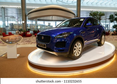 SINGAPORE - June 05, 2018: Interior of Changi Airport. Jaguar Luxury Car  is a prize of Lucky people go shopping at Changi Airport.