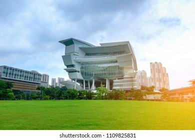 SINGAPORE - JUNE 1, 2018 The Star Vista, part of a 15-storey mixed development built in Vista Exchange, one-north precinct on green field. The place is located next to Buona Vista MRT Interchange