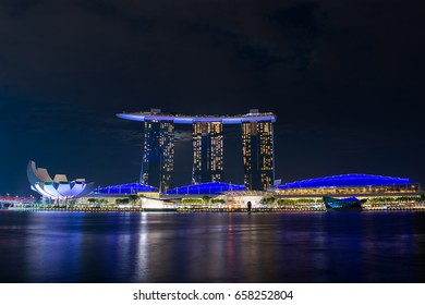 SINGAPORE - JUNE 10, 2017: Marina Bay Sands at night. One of the famous tourism place in Singapore.