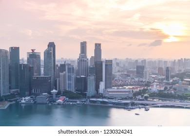 Singapore, June 10, 2018: Evening and night view of amazing cityscape  along Marina bay and Singapore River