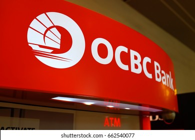 SINGAPORE, JUNE 12, 2017: ATM of OCBC Bank in Singapore. OCBC oversea Chinese Banking Corporation is a financial services organisation based in Singapore and offices in 18 countries.