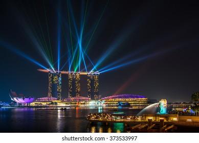 Singapore June 14 ; 2013 Laser show at marina bay sand , Singapore on 14 June 2013