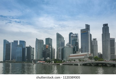 SINGAPORE - JUNE 18, 2018 : Singapore downtown area at Marina Bay district.