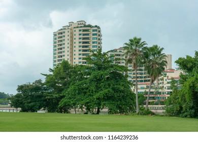 Singapore  - June 18, 2018: Trees infront of Camelot condominium