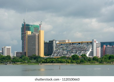 Singapore - June 18, 2018: View of Golden Mile Complex over water. Golden Mile is a popular place for the Thai community