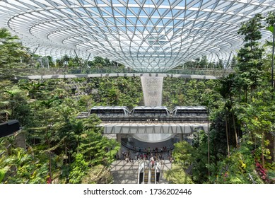 SINGAPORE ,  - JUNE 19, 2019 : Jewel Changi Airport (Jewel) is a mixed-use development at Changi Airport in Singapore , the world's best airport and destination in itself.
