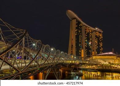 Singapore - June 20, 2016 : Helix bridge,the pedestrian bridge of Marina Bay Sands, one of the landmarks at Singapore.