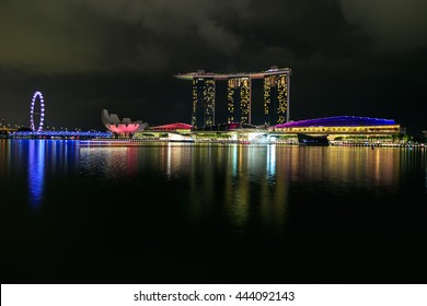 SINGAPORE - June 20, 2016: The Marina Bay Sands Resort Hotel in Singapore displaying a light show at night the largest light and water spectacle in Southeast Asia
