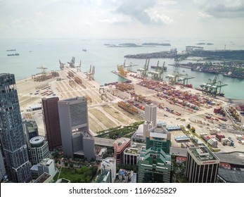Singapore - June 20 2018: Drone view of PSA Tanjong Pagar Terminal.
