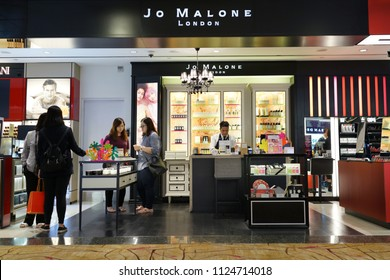 SINGAPORE - JUNE 20, 2018: Jo Malone London store in Changi Airport Terminal 2, Singapore. Joanne Lesley Malone MBE is a British perfumer, the founder of Jo Malone London and Jo Loves.