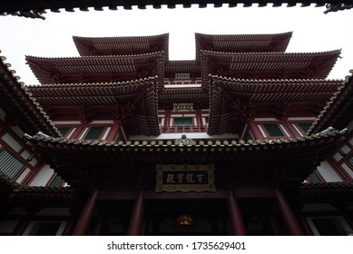 Singapore -JUNE 20 , 2019: The Buddha Tooth Relic Temple and Museum, with Tang dynasty architectural style and built to house the tooth relic of the historical Buddha