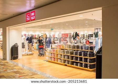 singapore june 20 uniqlo store in changi airport singapore on june 20
