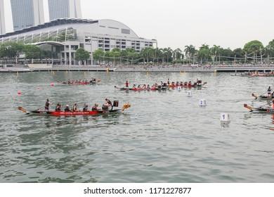 SINGAPORE, JUNE, 2016: dragon boat race DBS Marina Regatta at Marina Bay Singapore