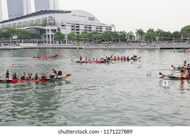 SINGAPORE, JUNE, 2016: dragon boat race DBS Marina Regatta at Marina Bay Singapore