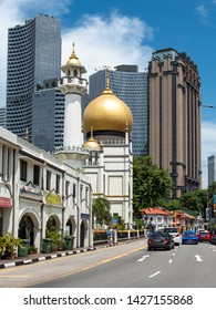 SINGAPORE- JUNE, 2019: Masjid Sultan Mosque in the Kampong Glam area of Singapore