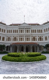 Singapore - June 2019: Raffles Hotel is a colonial-style luxury hotel in Singapore, established in 1887.