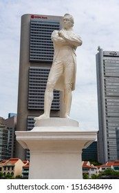 Singapore - June 2019: Statue of Sir Stamford Raffles.  Sir Stamford Raffles was British East Indian administrator and founder of the port city of Singapore.