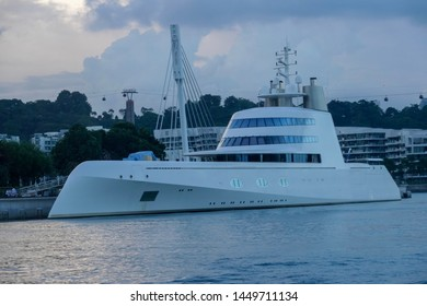 Singapore, June 2019: Super Yacht A on 14th June in Singapore Waters