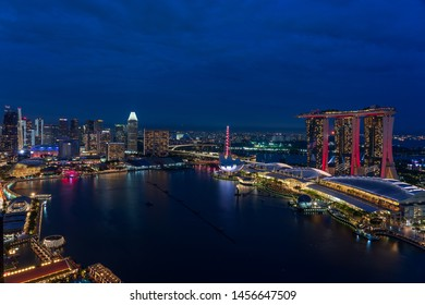 Singapore - June 2019:Singapore skyscrapers at night. Singapore is an island city-state in Southeast Asia.