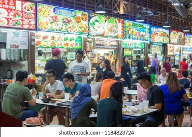 Singapore June 22 2018 - Newton food center is famous eating place for locals and tourists. Comprehensive food court offering one-stop of mix street food from Chinese, Malay and Indian hawkers