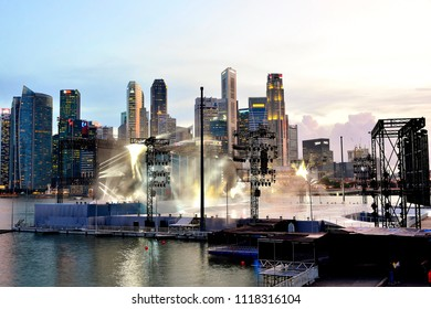 Singapore - June 22nd 2018: Rehearsals for Singapore's National Day on 9th August at The Float at Marina Bay