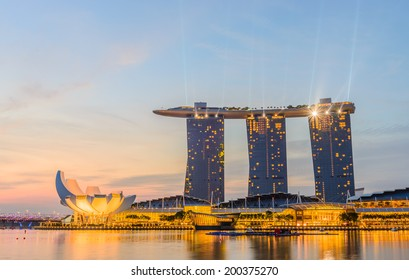 SINGAPORE - JUNE 23, 2014 : Marina Bay Sands, World's most expensive standalone casino property in Singapore at S$8 billion on June 23, 2014