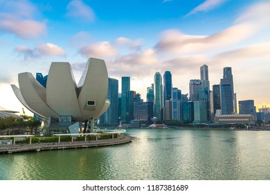 SINGAPORE - JUNE 23, 2018: Museum of Art and Science in Singapore at summer day