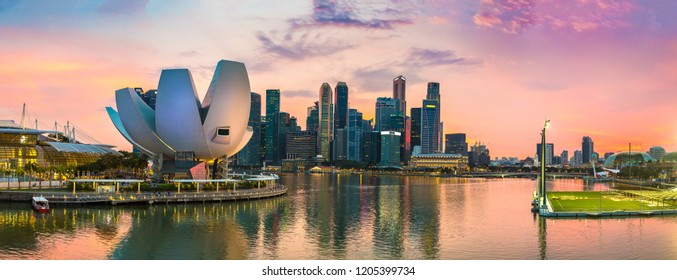 SINGAPORE - JUNE 23, 2018: Panorama of Museum of Art and Science in Singapore at summer day
