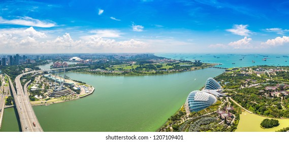 SINGAPORE - JUNE 23, 2018: Panorama of Greenhouses Flower Dome and Cloud Forest at Gardens by the Bay in Singapore at summer day