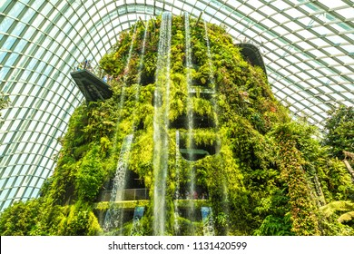 SINGAPORE - JUNE 23, 2018: Waterfall in the Conservatory Cloud Forest Dome in Singapore at summer day