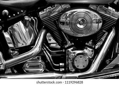 Singapore - June 23rd 2018: Close up of Harley Davidson Fatboy engine block with exhaust manifolds