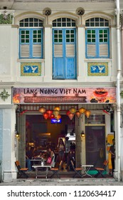 Singapore - June 23rd 2018: Front view of Lang Nuong Viet Nam Restaurant in a traditional Peranakan or Straits Chinese shop house in Jalan Besar