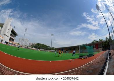 Singapore, Singapore - June 25: Fish-eye shot of Singapore hockey pitch where Myanmar taking on Pakistan in a Women's World League Round 1 match.
