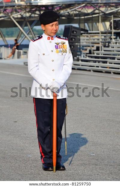 Singapore June 25 Parade Regimental Sergeant Stock Photo