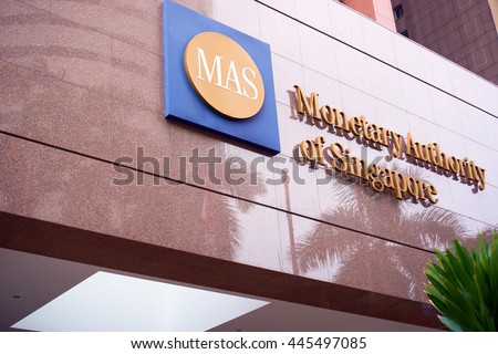 Singapore, Singapore - June 26, 2016: Monetary Authority of Singapore is Singapore's central bank and financial regulatory authority.