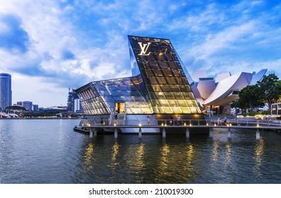 SINGAPORE - JUNE 26: The futuristic building of Louis Vuitton shop in Marina Bay, Singapore on June 26, 2014.