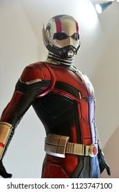 Singapore - June 29, 2018: Human Size Model Ant Man at The Standee of A Marvel Superhero Movie Ant-Man 2 and the Wasp displays at the theater
