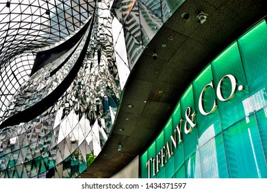 Singapore - June 3 2019: Tiffany boutique at the entrance of Ion shopping mall, a major fashion centre on Orchard Road, Singapore